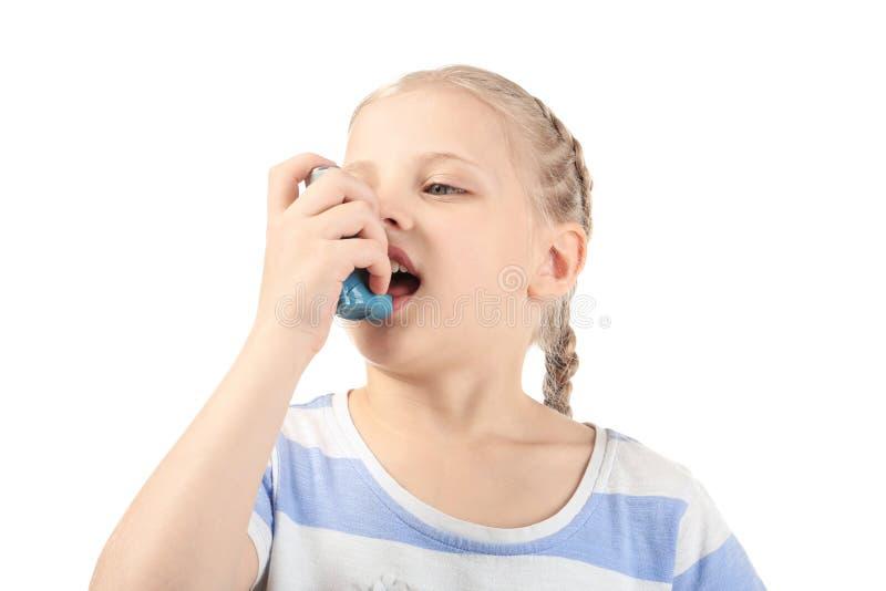 使用在白色背景的女孩吸入器 r 库存图片