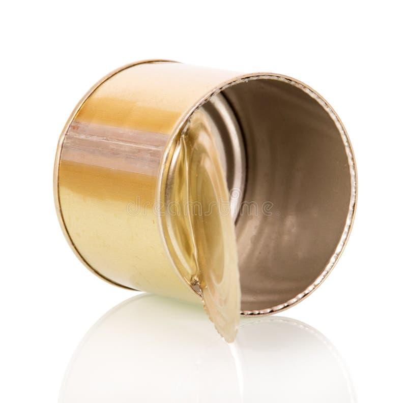 使用在白色隔绝的空的锡罐 免版税库存照片
