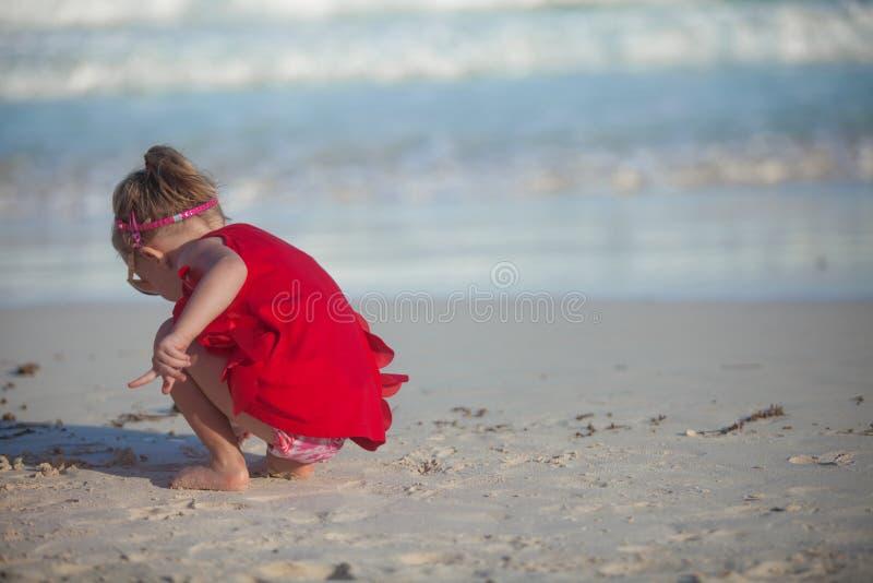 使用在的红色礼服的可爱的小女孩 免版税库存图片