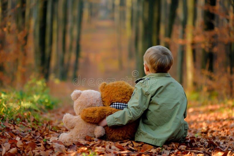 使用在秋天公园的一个小哀伤的男孩 免版税库存照片