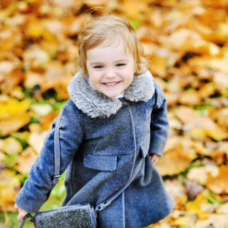 使用在秋天公园的逗人喜爱的小女孩 图库摄影