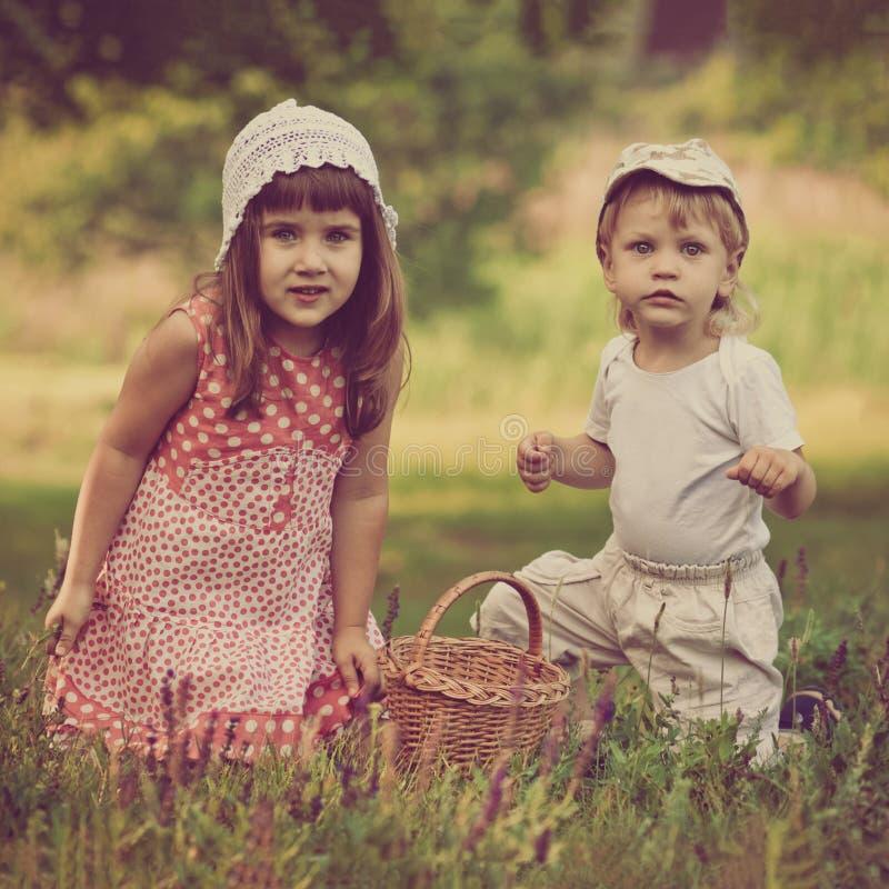 使用在草甸的孩子 图库摄影