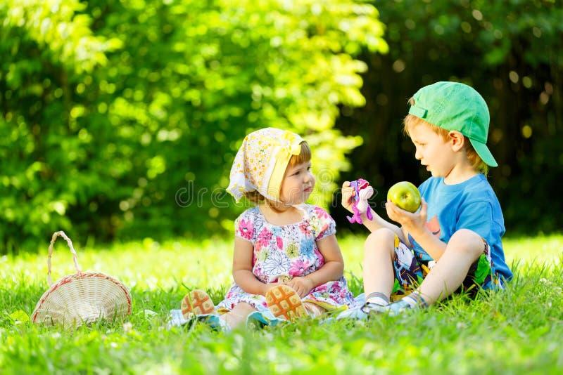 使用在草的小男孩和女孩 库存图片
