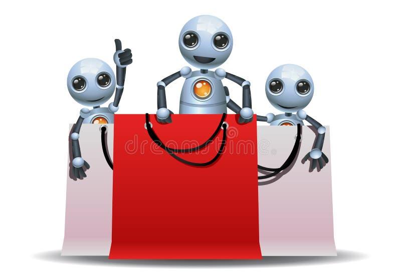 使用在购物袋的一点机器人 向量例证