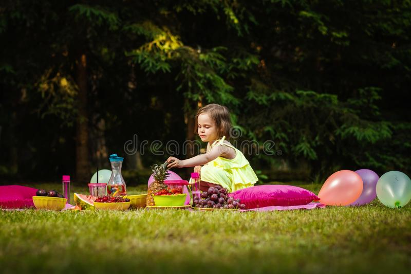 使用在野餐的礼服的小女孩 免版税库存照片