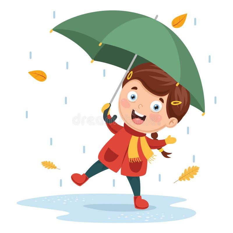 使用在雨下的女孩的传染媒介例证 库存例证