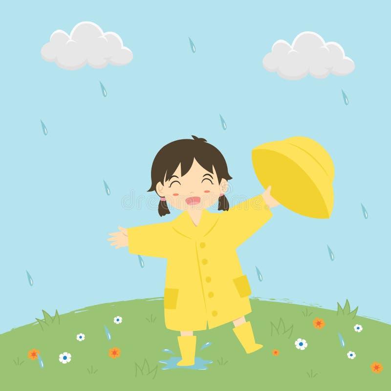 使用在雨传染媒介例证下的小女孩 向量例证