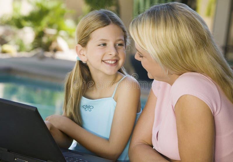 使用在露台的母亲和女儿膝上型计算机 库存图片