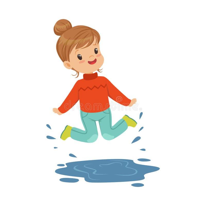 使用在水坑佩带的胶靴动画片传染媒介例证的逗人喜爱的愉快的小女孩 向量例证