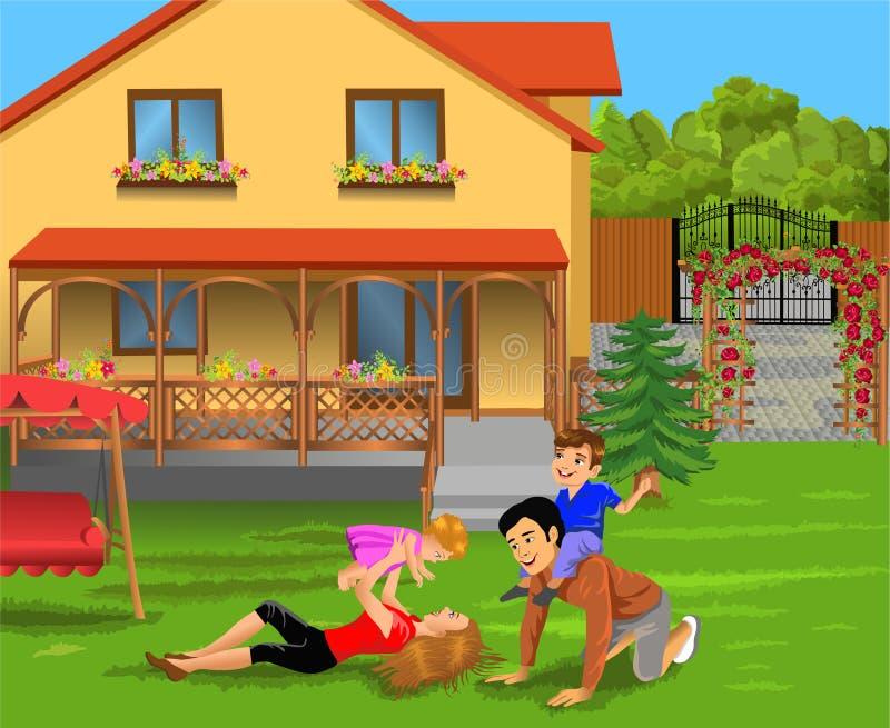 使用在他们的房子庭院里的父母和孩子  库存例证