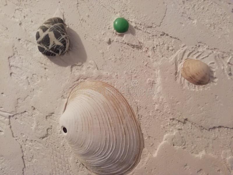 使用壳和小卵石的图膏药卫生间的 免版税库存照片
