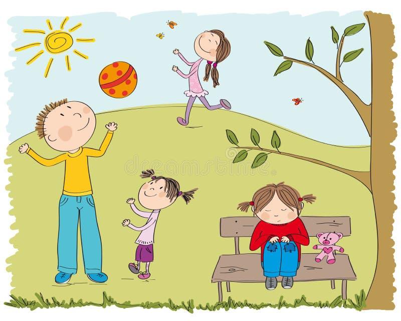 使用外面在公园的愉快的孩子,一个女孩是哀伤的 皇族释放例证