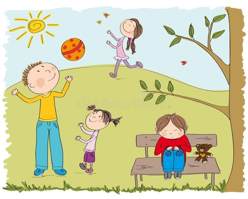 使用外面在公园的愉快的孩子,一个男孩是哀伤的 向量例证