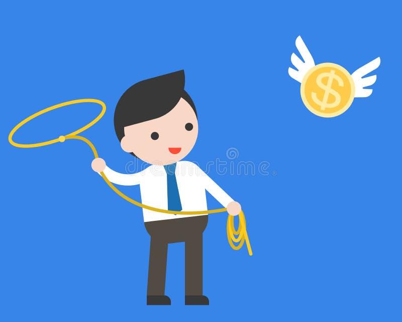使用套索非陷阱传染性的飞行金币的商人 库存例证