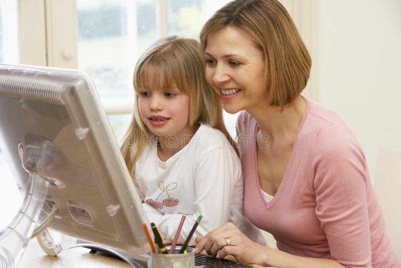 使用妇女的计算机女儿 免版税库存照片