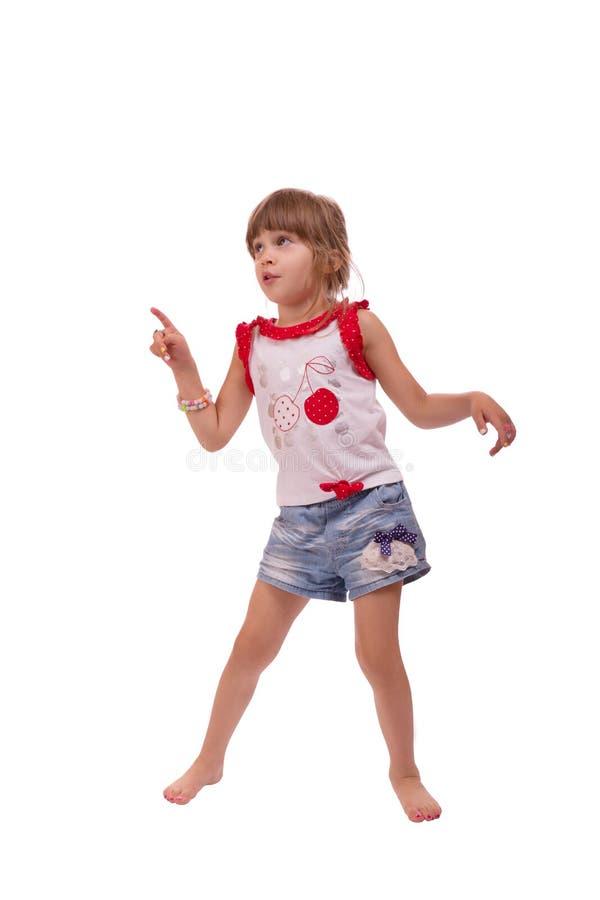 使用小女孩全长的画象,隔绝在白色背景 免版税库存照片