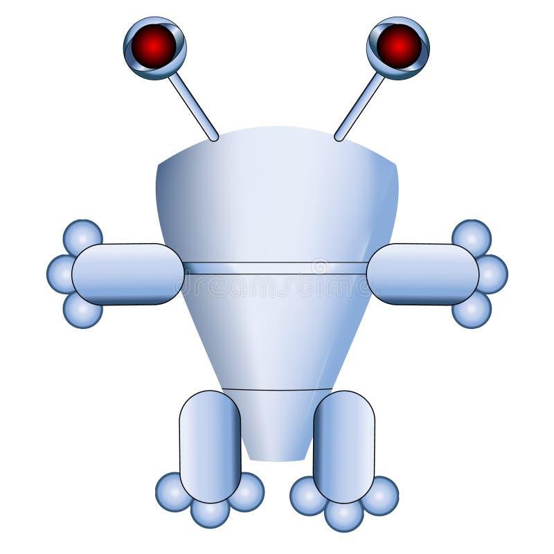 使用小的白色机器人的大开胳膊 现代现实机器人 也corel凹道例证向量 计算机控制学的纳诺助理 未来派 库存例证
