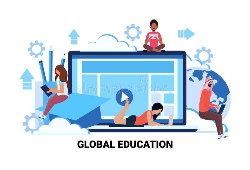 使用小配件网上全球性教育电子教学概念人民的学生学习移动计算机互联网应用 皇族释放例证