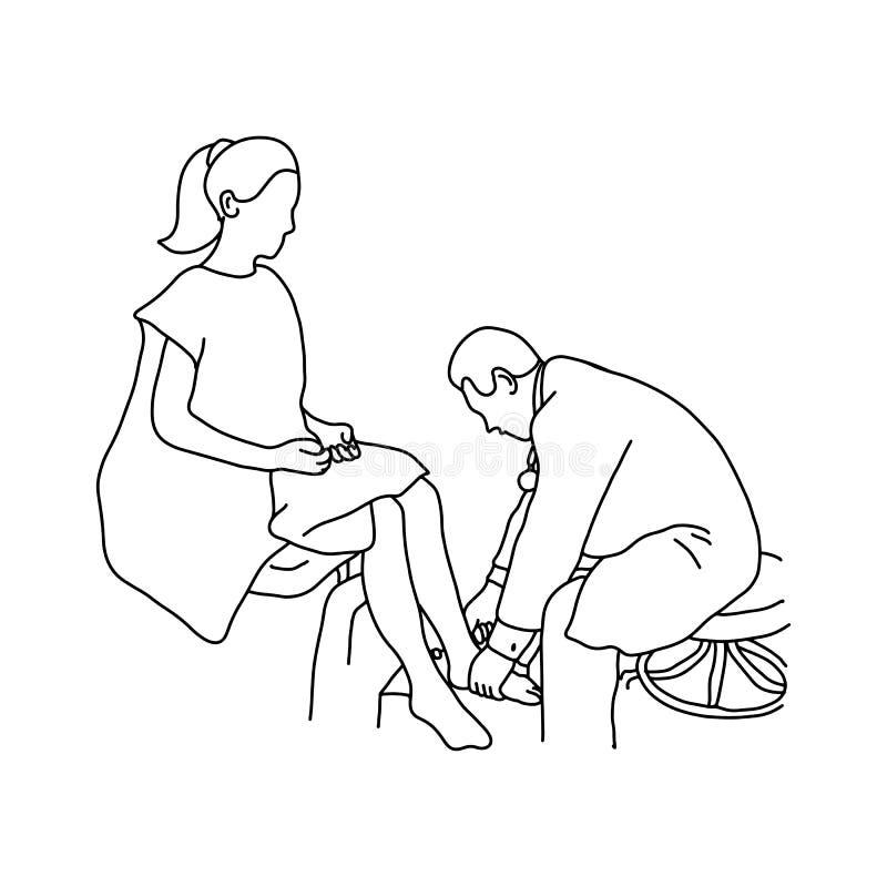 使用小锤子的神经学家测试距小腿关节反射 皇族释放例证