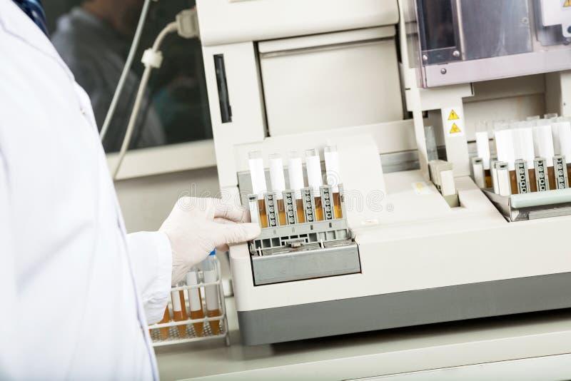 使用尿分析仪的技术员在实验室 库存图片