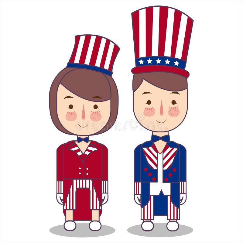使用山姆大叔帽子传染媒介以图例解释者,夫妇佩带庆祝美国美国爱国心7月四日服装条纹 向量例证