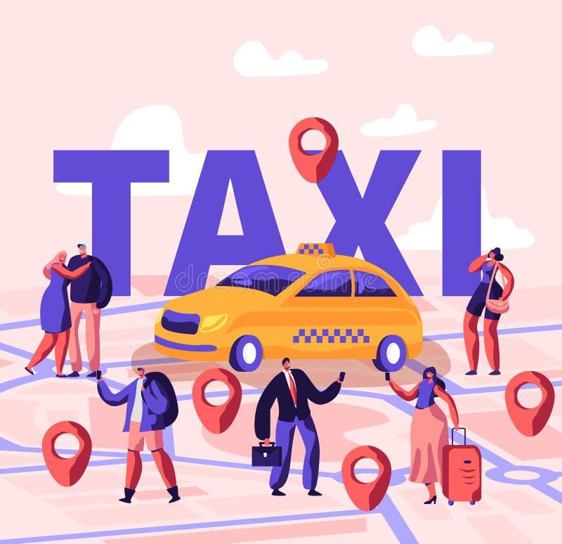 使用应用的人预定的出租汽车和风行街道概念 男性和女性乘客字符在黄色汽车附近站立 向量例证