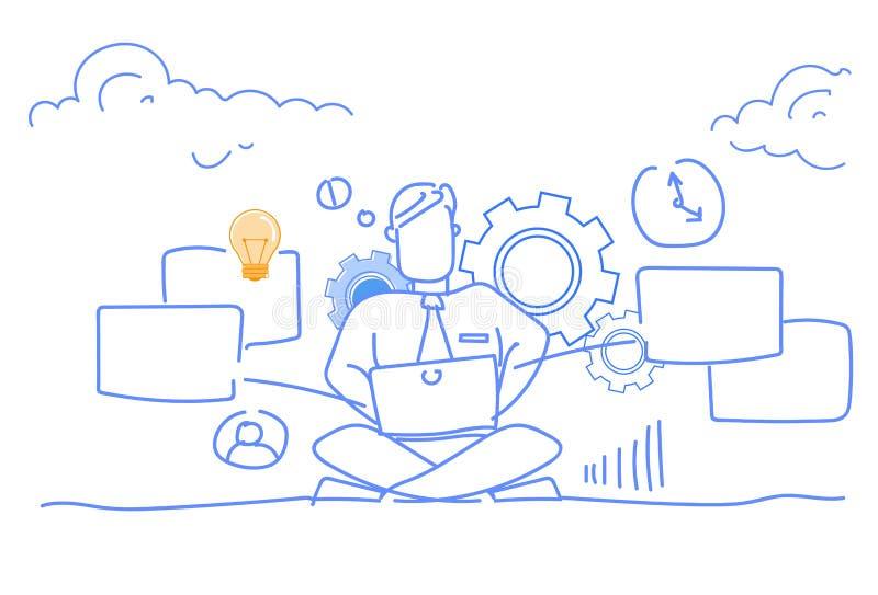 使用引起创新的膝上型计算机坚硬工作的处理网上通信人自由职业者的商人坐的莲花 库存例证