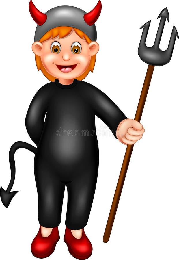 使用恶魔服装的逗人喜爱的女孩动画片有微笑的和带来棍子 库存例证