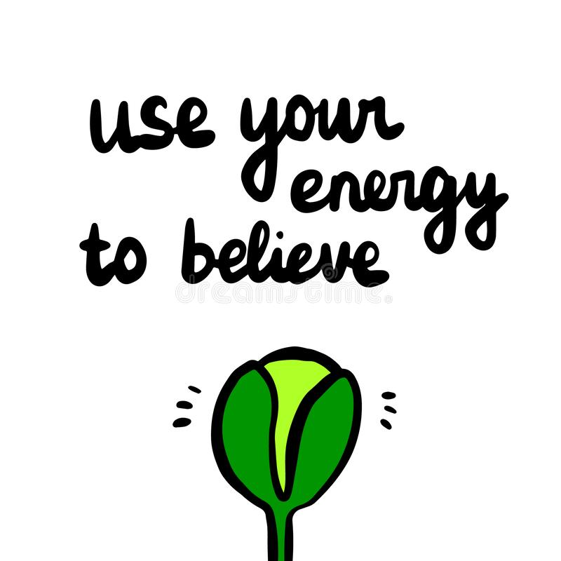 使用您的能量相信手拉的illustrationof增长的植物 库存例证