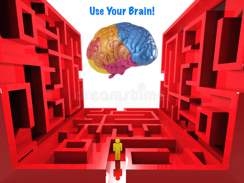 使用您的脑子 库存例证