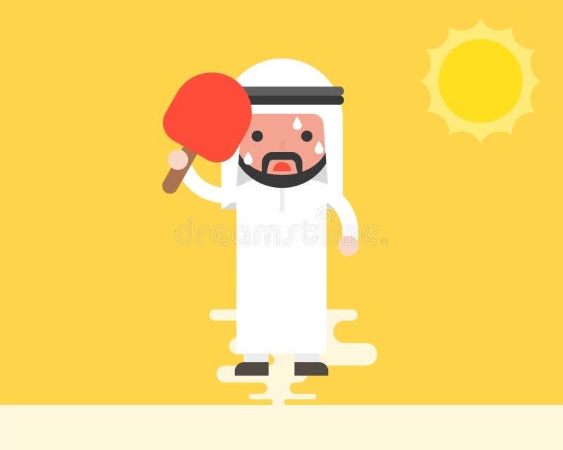 使用手扶的爱好者的阿拉伯商人,因为非常热天气und 库存例证