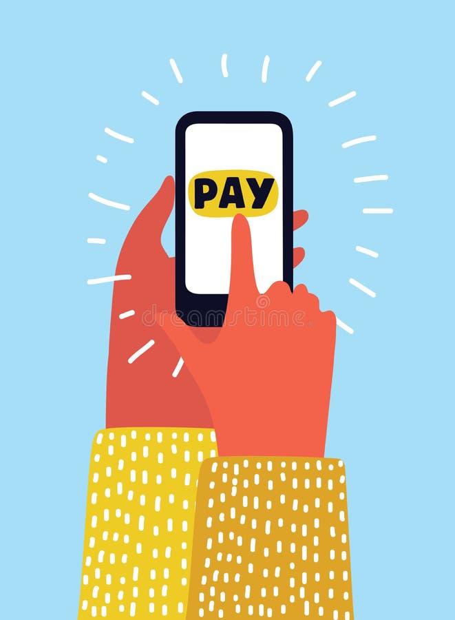 使用手机信用卡的手,网上购物概念隔绝了白色 皇族释放例证