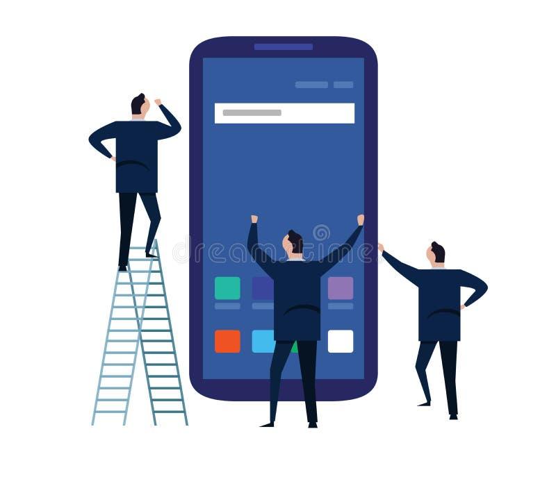 使用手机或智能手机的商人站立在一个大电话屏幕附近 修造的流动apps队工作 皇族释放例证