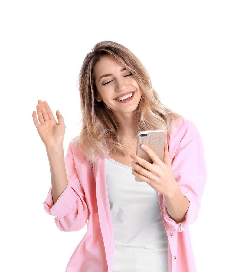 使用手机的妇女为视频聊天被隔绝 库存照片