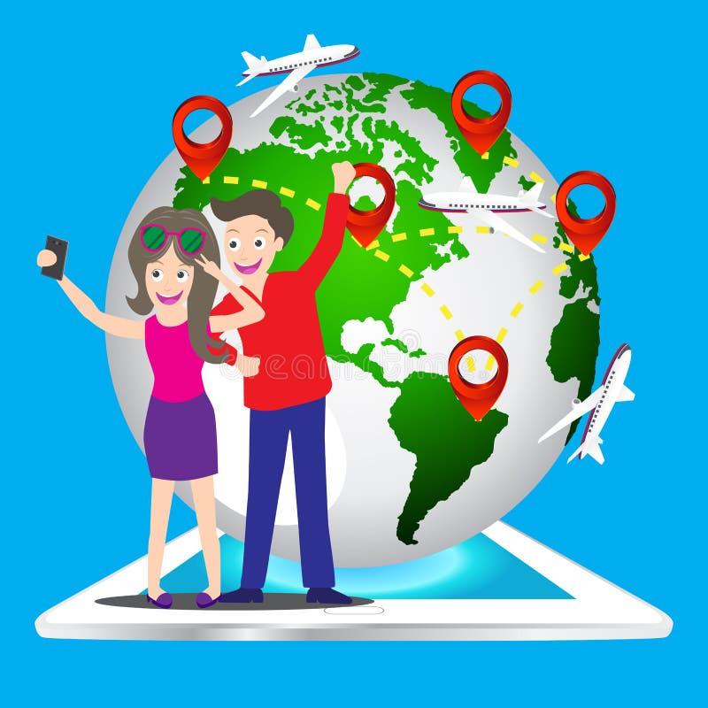 使用拍一个巧妙的电话的年轻旅游夫妇selfie照片的他们自己与世界地图别针象,地球的元素映射毛皮 皇族释放例证