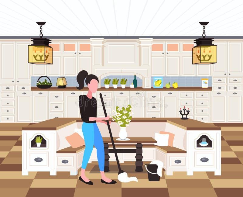 使用拖把清洁服务家事概念现代厨房内部的主妇擦的地板妇女擦净剂全长 库存例证
