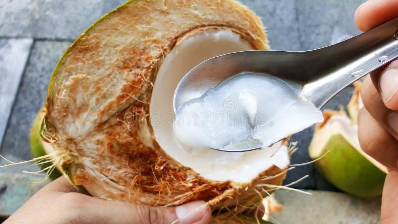 使用拾起与营养素,健康的匙子年轻绿色椰子 免版税库存照片