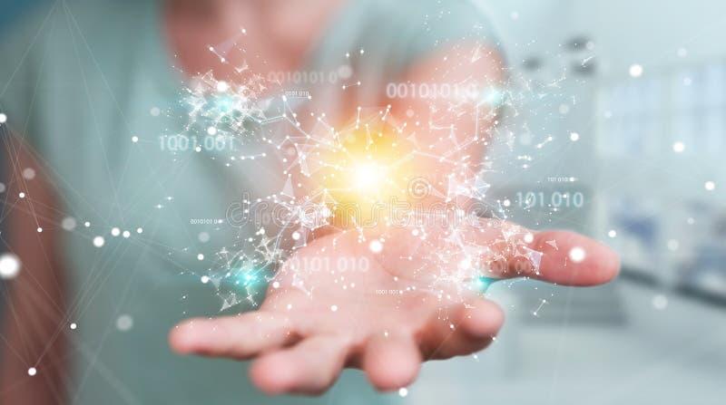 使用数字式二进制编码连接网络3D关于的女实业家 向量例证