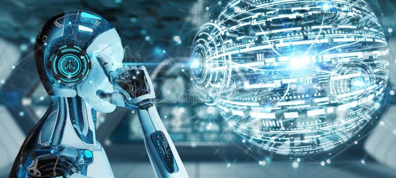 使用数字式地球hud接口3D翻译的白色男性机器人 向量例证