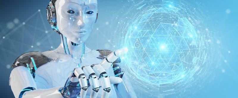 使用数字式球形连接全息图3D关于的白机器人妇女 库存例证