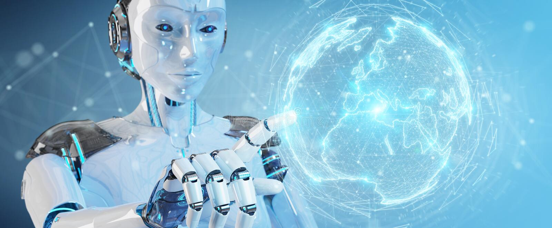 使用数字式球形连接全息图3D关于的白机器人妇女 皇族释放例证