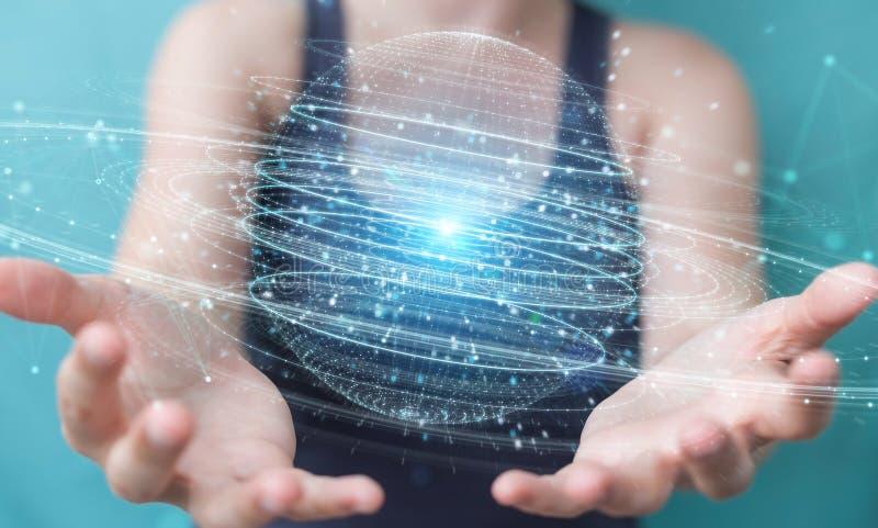 使用数字式球形连接全息图3D的女实业家回报 库存例证