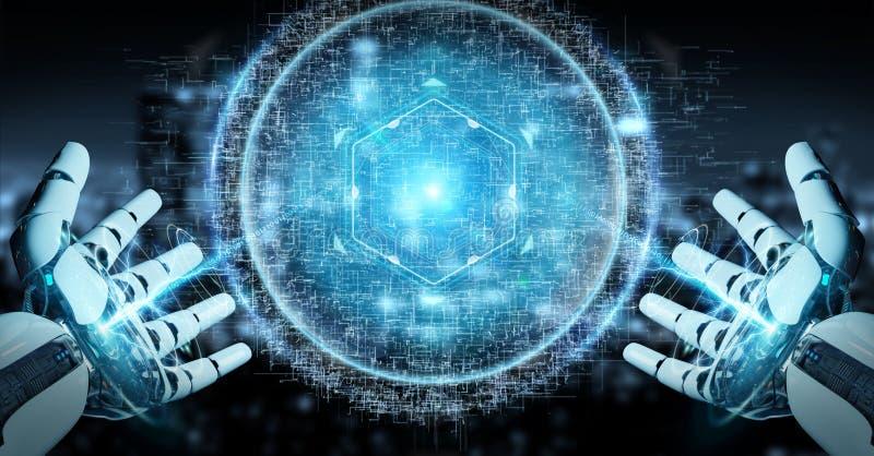 使用数字式球形连接全息图3D的白色机器人手ren 库存例证