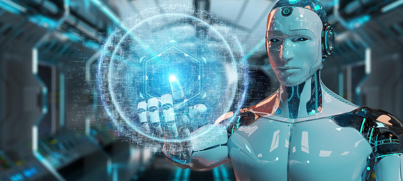 使用数字式球形连接全息图3D renderin的白色机器人 皇族释放例证