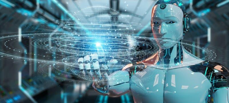 使用数字式球形连接全息图3D renderin的白色机器人 向量例证