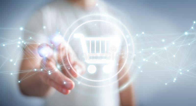 使用数字式购物象的商人与连接3D ren 皇族释放例证
