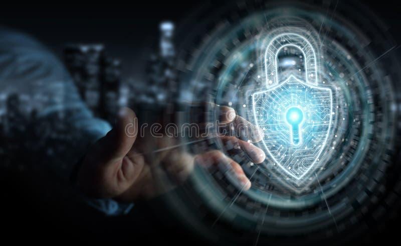 使用数字挂锁安全接口的商人保护数据3D翻译 皇族释放例证