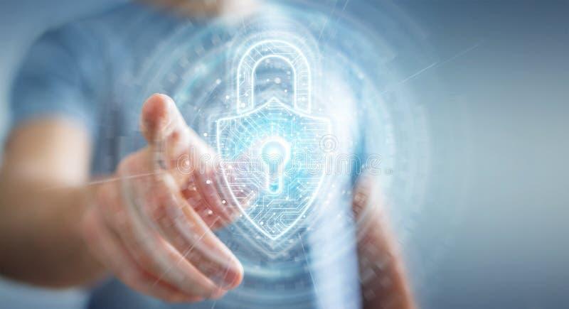 使用数字挂锁安全接口的商人保护数据3D翻译 库存例证