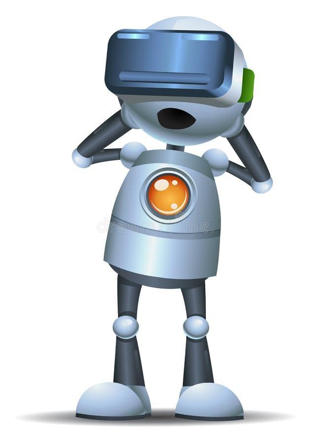 使用新技术聪明的虚拟现实的一点机器人 皇族释放例证