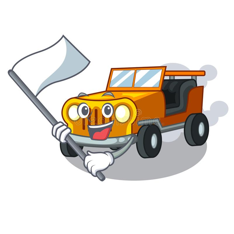使用旗子吉普在前面赦免的动画片汽车 库存例证